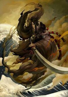 イザナギ (Izanagi) Izanagi is a deity born of the seven divine generations, the spouse and brother of Izanami. With her, they bore many islands, deities, and forefathers of Japan. When she died in. Japanese Mythology, Japanese Folklore, Mythological Creatures, Mythical Creatures, Wicca, Magick, Japanese Artwork, Susanoo, Legends And Myths