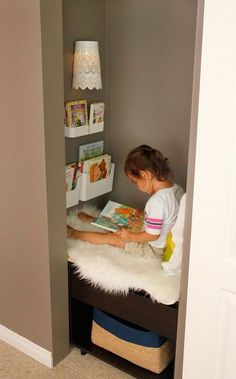 Create a reading nook, in a closet, for kids with a little easy construction and sliding closet doors.
