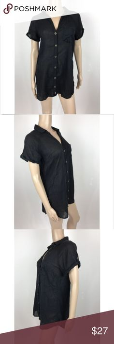 """Hei Hei Anthropologie Black Sheer Button Up Shirt Hei Hei Anthropoloige women's black button up short sleeve shirt top sz small, small snag on front Measurements laying flat Armpit to Armpit 21"""" Length 29.5"""" Anthropologie Tops Button Down Shirts"""