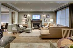 Great room on pinterest modern apartments living room for Interior design house oakville