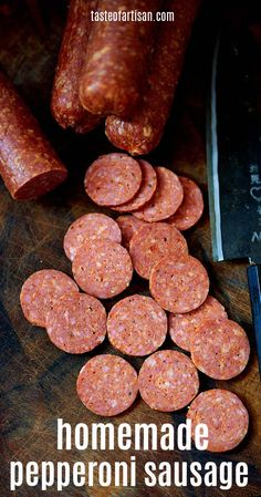 How to make the best pepperoni sausage at home. It's easier than you think. Homemade Pizza Rolls, Homemade Pepperoni Pizza Recipe, Vegan Pepperoni, Homemade Sausage Recipes, Pepperoni Recipes, Smoked Pepperoni Recipe, Smoked Sausage Recipes, Pizza Recipes, Bacon