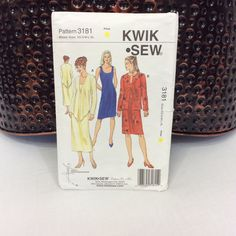 Kwik Sew Pattern 3181, Dress Pattern, Jacket Pattern, Misses XS - XL, 2003, Easy Sew Dress, Shift Dress, Makes a dress with jacket, 2 styles by GiftGarbBags on Etsy