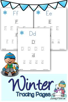 These cute winter tracing pages are sure to help your child with their preschool letter writing. Fun Writing Activities, Preschool Learning Activities, Alphabet Activities, Winter Activities For Kids, Teaching Kids, Free Preschool, Preschool Curriculum, Snow Activities, Preschool Winter