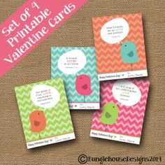 Tweet Bird Valentine DIY PRINTABLE Classroom by bunglehousedesigns, $9.00