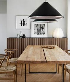 Table, chairs + light fixture.