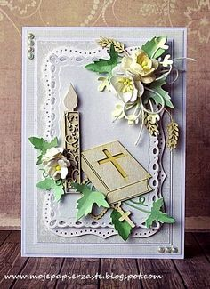 Komplet komunijny First Communion Cards, First Communion Invitations, First Holy Communion, Confirmation Cards, Baptism Cards, Memory Box Cards, Mixed Media Cards, Spellbinders Cards, Quilling Cards