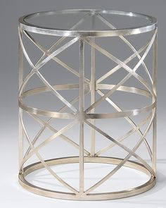 """Round hand-wrought iron occasional table. Wrought iron table finished in distressed antique silver-leaf and has 3/8"""" thick glass top. This hand-wrought iron table is hand-crafted in Italy"""