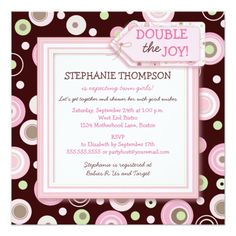 Happy Pink Dots Twin Girl Baby Shower Invitation