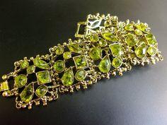 Poured Peridot Glass Bracelet Six Panel Links by RenaissanceFair