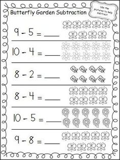 Practice subtraction in the Spring with this free butterfly garden subtraction worksheet.: