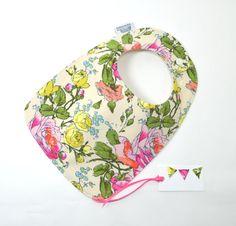 Organic bib Organic baby bib Flowers Floral Bib by TextileTrolley