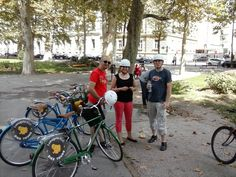"""Sabine, Arne and Martin stopped for a fresh water refill from #pimpmypump water pump """"francek"""" #lobagolabnb #zagreb  #croatia #bike #tours #lobagolaadventure #bicycle #lobagolatours #cycling #yellowelephant #1city2wheels"""