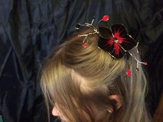 Black and Red Hair Fascinator by RiverwalkRevisions on Etsy