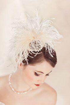 Wedding Hair Accessory, Bridal Hat, Wedding Feather Head Piece, Fascinator