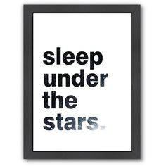 """Americanflat """"Sleep Under The Stars"""" Framed Wall Art (36.095 CRC) ❤ liked on Polyvore featuring home, home decor, wall art, multicolor, phrase, quotes, saying, text, typography wall art and vertical wall art"""
