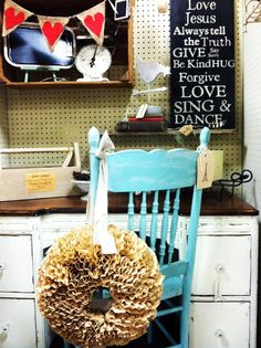 Coffee Filter Wreath♥   Love the heart banner & chair color too!