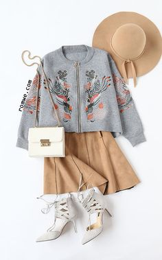 Grey Embroidery Zipper Up High Low Sweater Coat with khaki skirt and lace up heels from romwe.com