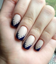Nude and Navy with a Little Sparkle....NOT A FAN OF SQUARE NAILS BUT THIS IS CUTE