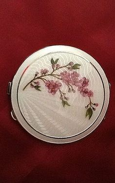 Vintage Silver Guilloche Enamel Compact with a Floral Design, English c1950s