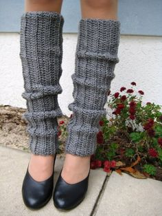 Gray, 80`s Style, Crocheted Legwarmers $9.99 (67% OFF)
