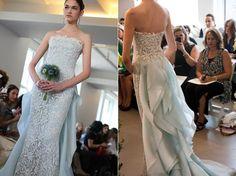 Something Blue - Lace Wedding Dress with Blue Underlay and Train from Oscar de la Renta Spring 2013 bridal market