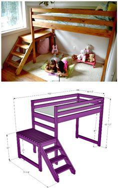 DIY Kids Loft Bunk Bed - 22 Low Budget DIY Bunk Bed Plans to Upgrade Your Kids Room - DIY