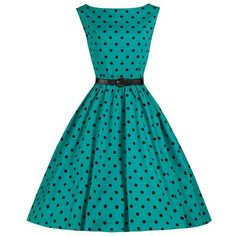 Lindy Bop 'Audrey' Turquoise Polka Dot Vintage 1950's Inspired... ❤ liked on Polyvore featuring dresses, turquoise evening dress, holiday dresses, blue dress, evening dresses and vintage dresses