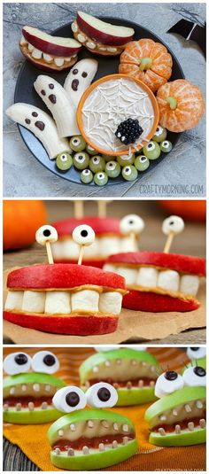 Healthy halloween snack ideas for the kids Pumpkin cuties cyclops grapes monster apples banana ghosts spiderweb fruit dip blackberry spider Perfect halloween party appeti. Halloween Desserts, Comida De Halloween Ideas, Halloween Snacks For Kids, Soirée Halloween, Halloween Party Appetizers, Hallowen Food, Halloween Treats For Kids, Snacks Für Party, Holiday Treats