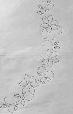 Patrones para bordar Border Embroidery Designs, Floral Embroidery Patterns, Hand Embroidery Flowers, Hand Work Embroidery, Simple Embroidery, Embroidery Transfers, Hand Embroidery Stitches, Crewel Embroidery, Ribbon Embroidery