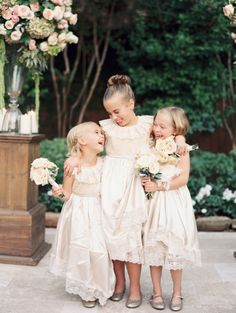 a trio of adorable flower girls in ivory   taylor lord photography
