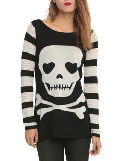 Sweater with black and white striped sleeves and back and a skull design on front.