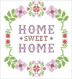 PDF -flower  Home Sweet Home - cross stitch PDF Pattern - pdf pattern instant download by Rainbowstitchcross on Etsy