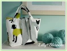 PDF Reversible Contrast Tied Tote Bag by LillyBlossom on Etsy