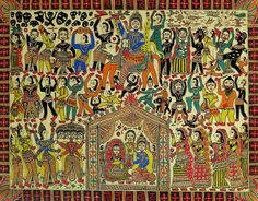 Madhubani art - totally mental and awesome. Madhubani Art, Madhubani Painting, Bengali Art, Indian Traditional Paintings, Indian Arts And Crafts, Art Forms, Folk Art, Flag, Gallery