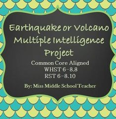 Earthquake Volcano Project: A great way to incorporate 21st century skills, technology, PBL, and creativity.Students research their topic, take notes, find key vocabulary, and use at least 4 sources to put together a final project. The multiple choices allow for differentiation and student individuality. I incorporate teacher-student conferences throughout the process so that students can check in with me along the way. Students often tell me this is their favorite project of the year!