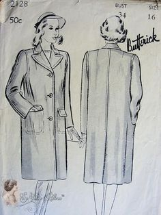 1940s Fabulous Polo Coat Pattern Classic Double Breasted Style Butterick 2128 Vintage Sewing Pattern Bust 34