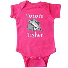 Inktastic Future Fisher Childs Fishing Infant Creeper Baby Bodysuit Fisherman Fish Trout Kids Cute Boys Girls Sports Hobbies Hobby Gift One-piece Hws, Infant Unisex, Size: 12 Months, Pink