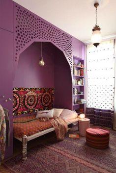 Unusual purple Boho bedroom - modern bohemian design