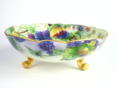 "AKD France Limoges Hand-Painted, Footed Bowl with Blackberry, 7-1/2"" x 2-3/8"" #AKDFranceLimoges"