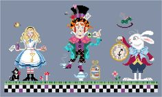 alice+in+wonderland+needlepoint | The Mad Hatter Alice Wonderland series cross stitch chart Brooke's ...