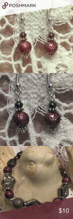 Mauve Burgundy Enameled Czech Glass Bead Earrings The designer fell In love with these mauve beads!  They are Czech Glass, but appear to be enameled.  In design, these earrings are simple, but they are certainly big on details as the glazed surface shimmers.  Wear them to add elegance to your finest things or upgrade your favorite charcoal gray tee shirt.  They look great with the matching bracelet, (in last photo and for sale in this closet but not for long. ) Silver accents and high-gloss…