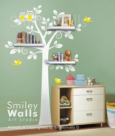 Shelf Tree Wall Decal Children Wall Decal -Nursery Decal Wall Sticker - Shelves Tree Decal. white, via Etsy.