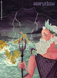 Our awesome Atlantis myth with Poseidon, illustrated by Karl James Mountford (http://cargocollective.com/karljamesmountford) in Storytime Issue 21 ~ STORYTIMEMAGAZINE.COM