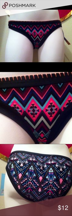 Geometric Shape Bikini Bottoms Super cute, never worn, brand new with tags, still has the hygienic liner. I feel these run a little small. My mannequin is a size 4. These would be really cute with a coral bikini top. Feel free to make an offer and bundle(: Swim Bikinis