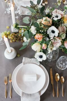 La Tavola Fine Linen Rental: Velvet Grey with Tuscany Natural Napkins | Photography: Matthew Land Studios, Floral Design & Styling: Erin Land, Stationery & Calligraphy: Spruce, Chairs: Cort Party Rentals, Location: The Land Loft