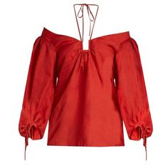 Rosie Assoulin Off-the-shoulder silk-gazar top (€1.595) ❤ liked on Polyvore featuring tops, red multi, loose tops, red off the shoulder top, halter-neck tops, halter neck tops and red off shoulder top