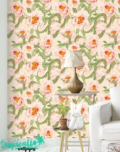 adhesive wallpaper | tropic wall @ etsy | pink, green | animal, snake, floral | $55/2x8