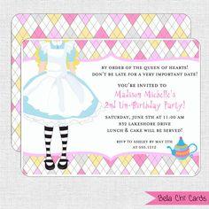 Kids Birthday Invitations-Alice Wonderland Party KBI646 DIY
