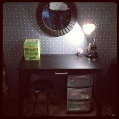 The DIY vanity I made! $85.00 total. Writing table from mainstays at Walmart $39.99 Mirror $19.99 3 Drawer Storage Cart $12.97 Walmart Keep it Charged Lamp with compartments and outlet $11.87 from Walmart and the Bar Stool is Walmart as well! <3 it!