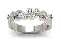 Customizeable Multi-Stone Family Ring  #gemstonering #customizable #familyring #birthstonejewelry #birthstonering Blue Zircon, Blue Sapphire, Family Ring, Birthstone Jewelry, Diamond Cuts, Gemstone Rings, White Gold, Romantic, Jewels